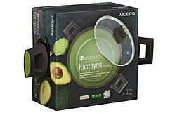 Кастрюля Ardesto Avocado, скляна кришка, 2,2 л, зелений, алюміній