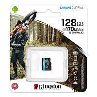 Карта пам'яті Kingston 128GB microSDXC C10 UHS-I U3 A2 R170/W90MB/s Canvas Go Plus