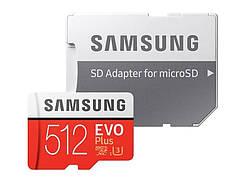 Карта пам'яті Samsung 512GB microSDXC C10 UHS-I U3 R100/W90MB/s Plus Evo V2 + SD адаптер