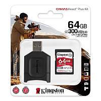 Карта пам'яті Kingston 64GB SDXC C10 UHS-II U3 R300/W260MB/s + MLP SD Reader