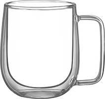 Набір чашок з ручками Ardesto з подвійними стінками, 250 мл, H 9,5 см, 2 од., боросилікатне скло