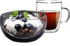 Набір для сніданку Ardesto, чашка 270 мл і піала 500 мл, з подвійними стінками, боросилікатне скло