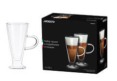 Набір чашок з ручками Ardesto з подвійними стінками, 230 мл, H 15,8 см, 2 од., боросилікатне скло