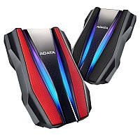 """Жорстку диск ADATA 2.5"""" USB 3.2 1TB HD770G захист IP68 RGB Black/Red"""