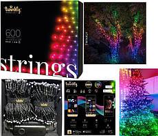 LED Гірлянда Twinkly Strings RGB 600, Gen II, IP44, довжина 48м, кабель чорний