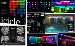 LED Гірлянда Twinkly є icicle RGB 190, Gen II, IP44, довжина 5м, прозорий кабель