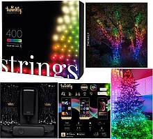 LED Гірлянда Twinkly Strings RGBW 400, Gen II, IP44, довжина 32м, кабель чорний