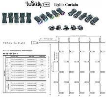 LED Гірлянда Twinkly Pro Curtain RGB 250, AWG22, IP65, зелений