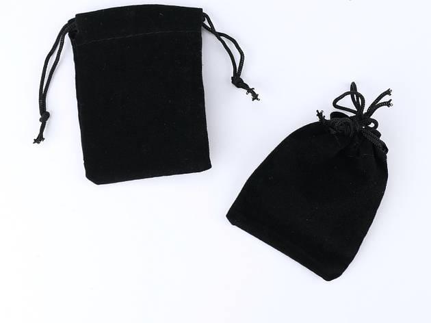 Мешочек для ювелирных украшений Бархатный 5х7 Черный, фото 2