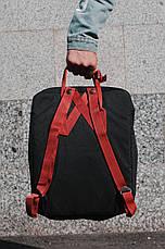 Городской Рюкзак Fjallraven Kanken Classic 16 л Канкен Черный с бордовыми ручками, фото 2