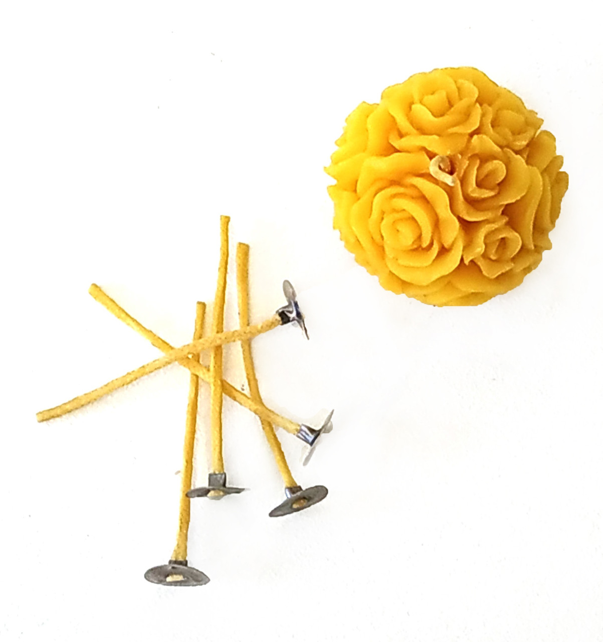 Фитиль для свечей вощеный 2 мм с металлическим держателем. Высота 5 см