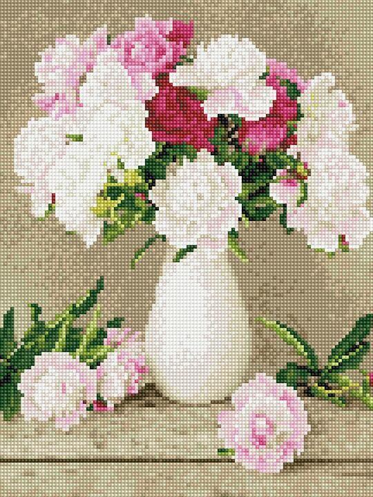 EJ1148 Набор алмазной мозаики на подрамнике Пионы в белой вазе
