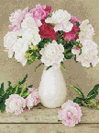 EJ1148 Набор алмазной мозаики на подрамнике Пионы в белой вазе, фото 2