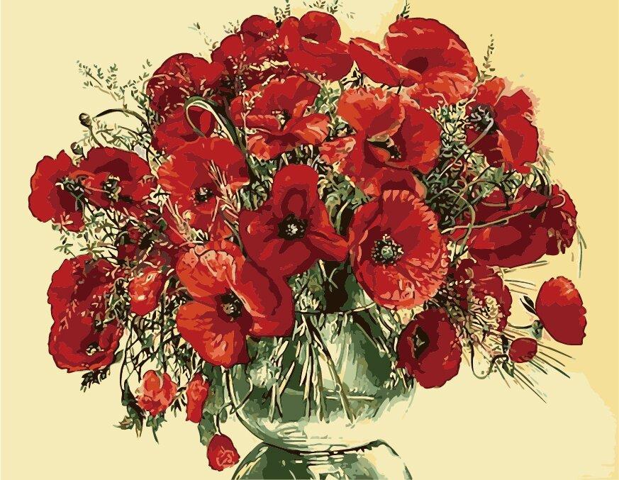 КНО1076 Раскраска по номерам Красные маки в стеклянной вазе, В картонной коробке