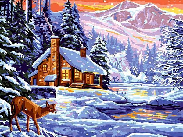 VK265 Картина-раскраска по номерам Шале зимой