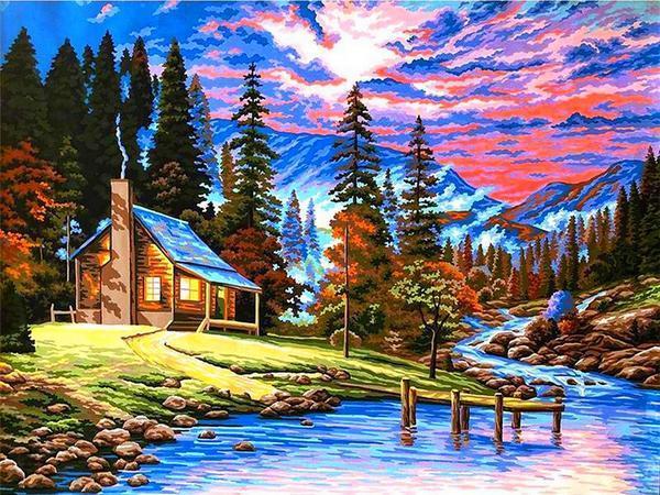 VK266 Картина-раскраска по номерам Охотничий домик