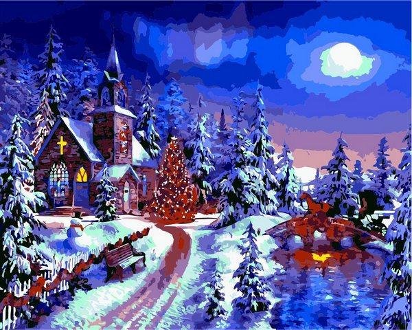 VP1263 Картина-раскраска по номерам Новогодняя ночь. Доминик Дэвисон.