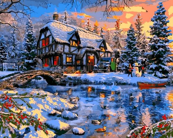VP1266 Картина-раскраска по номерам Зима за городом. Доминик Дэвисон