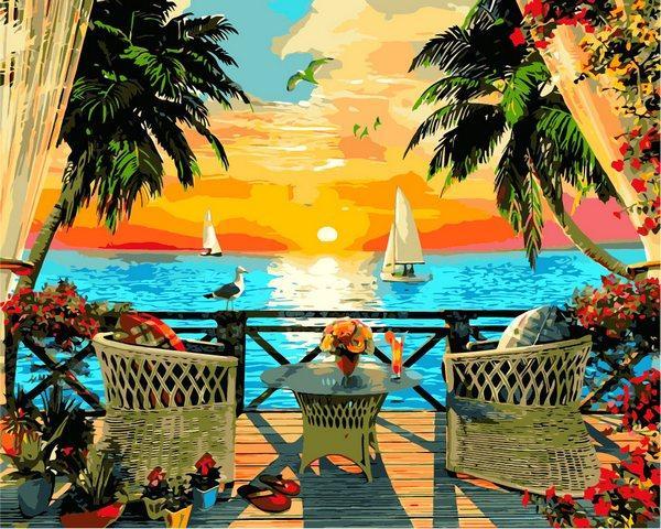 VP1274 Картина-раскраска по номерам Отдых на закате. Доминик Дэвисон