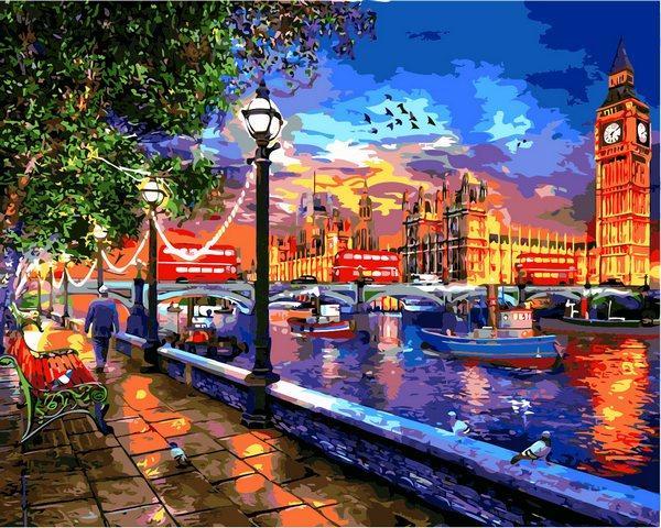 VP1275 Картина-раскраска по номерам Жизнь в Лондоне. Доминик Дэвисон