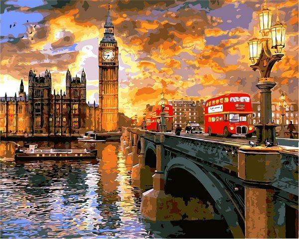VP1276 Картина-раскраска по номерам Вестминстерский закат. Доминик Дэвисон