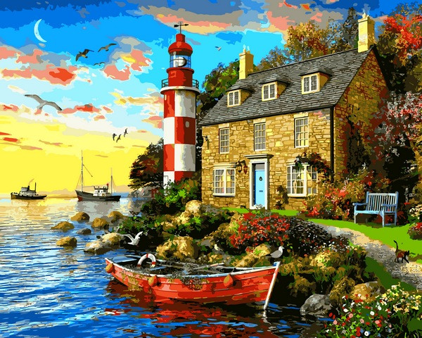 VP1277 Картина-раскраска по номерам Дом смотрителя маяка. Доминик Дэвисон
