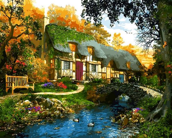 VP1286 Картина-раскраска по номерам Дом у пруда. Доминик Дэвисон