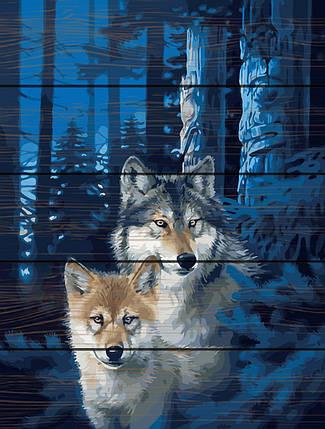 RA-GXT28852 Раскраска по номерам на деревяной основе Ночные волки, фото 2