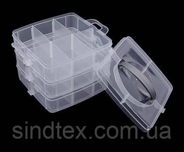 (15х15х12,5см) Органайзер с защёлкой для бисера, бусин, мелочей - 3 яруса Прозрачный (сп7нг-4685)