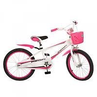 Детский велосипед двухколесный (арт.20RB-1) бело розовый 20 диаметр