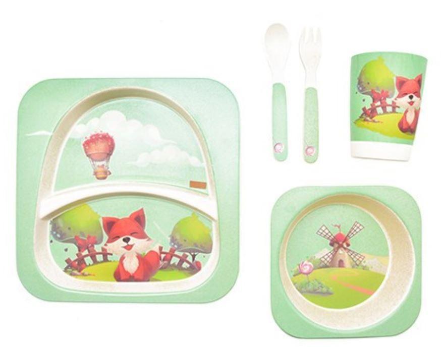 Набор детской бамбуковой посуды Stenson MH-2770-19 лиса, 5 предметов
