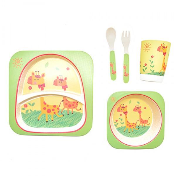 Набор детской бамбуковой посуды Stenson MH-2770-16 жираф, 5 предметов