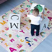 """Детский игровой коврик складной двусторонний размер 180х200 см """"Буквы"""""""
