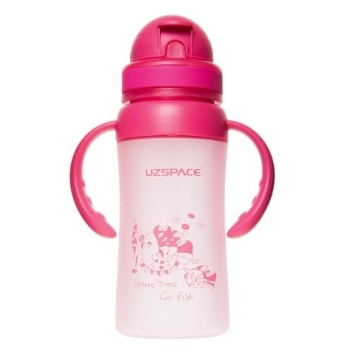 Бутылочка - поильник с трубочкой и ручками UZspace 3041 350 мл, розовая