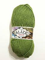 Пряжа акриловая Alize Burcum Klasik 100% акрил 100 гр, 210 м,  молодая зелень 210, Турция