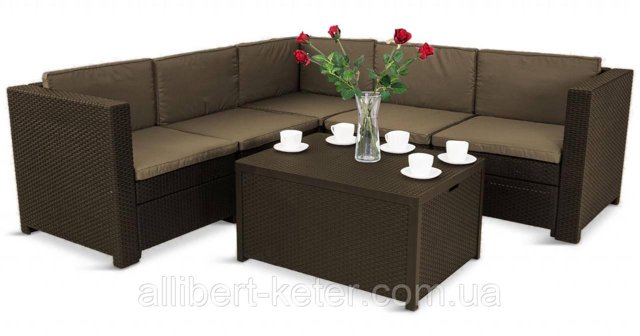 Комплект садовой мебели Allibert by Keter Provence Box Set Brown ( коричневый ) искусственный ротанг