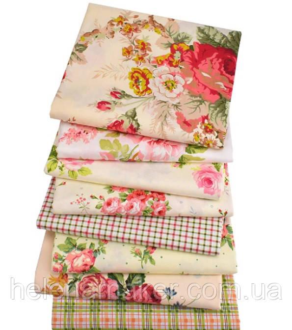 Набор ткани для рукоделия Винтаж с принтом Розы - 8 отрезов 40*50 см