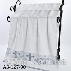 Полотенце Крыжма белая в серебре 140х70
