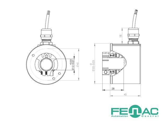 Энкодер круговых перемещений FNC 50В (1000 имп/об, 10 мм полый вал, 5-30В)