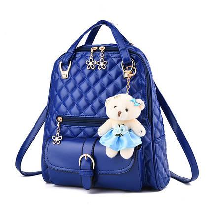 Молодіжний рюкзак для дівчат з іграшкою. Стильні жіночі міські рюкзаки., фото 2