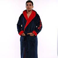 Мужской махровый халат на запах с капюшоном, фото 1