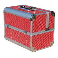 Чемодан-кейс алюминиевый 2629 (красный с камнями)