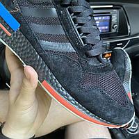 Мужские стильные кросовки adidas , удобные кросовки из сетки и замша, черные