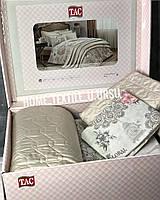 Евро комплект постельного белья с покрывалом Tac Беж
