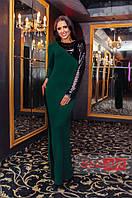 Платье длинное женское с крупными пайетками - Темно зеленый