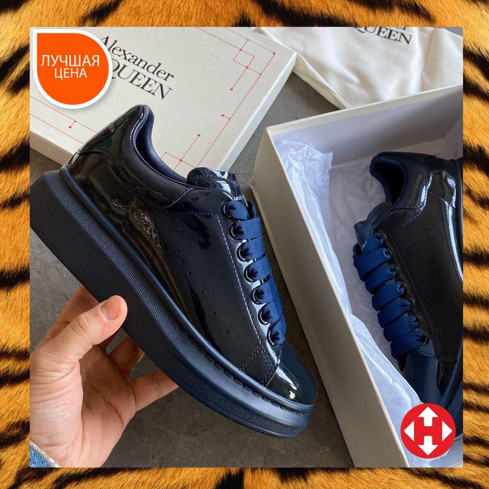 🔥 Кроссовки кеды женские Alexander McQueen Patent Blue (александер макквин) синие лаковые