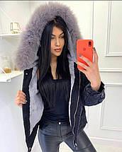Джинсовая женская куртка с мехом 5501 (OS), фото 3