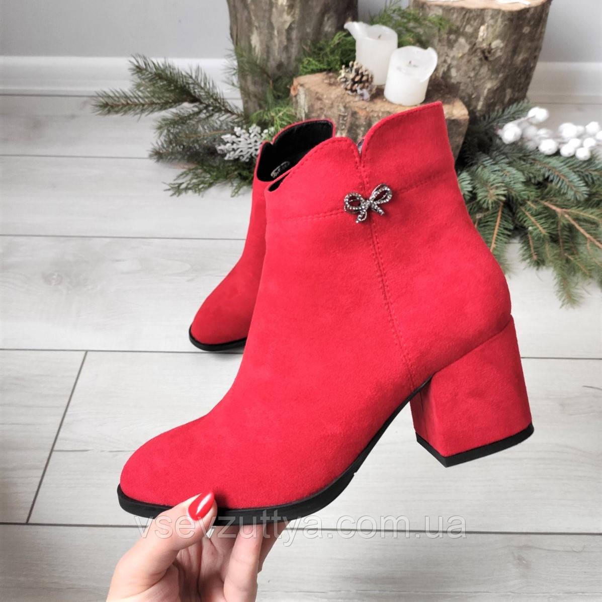 Черевики жіночі демісезонні червоні на каблуку екозамша