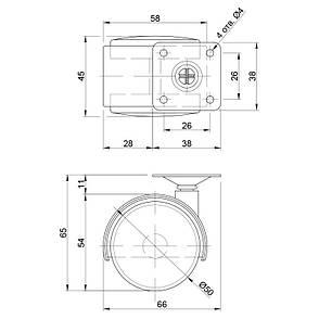 Ролик мебельный с площадкой d50мм, фото 2