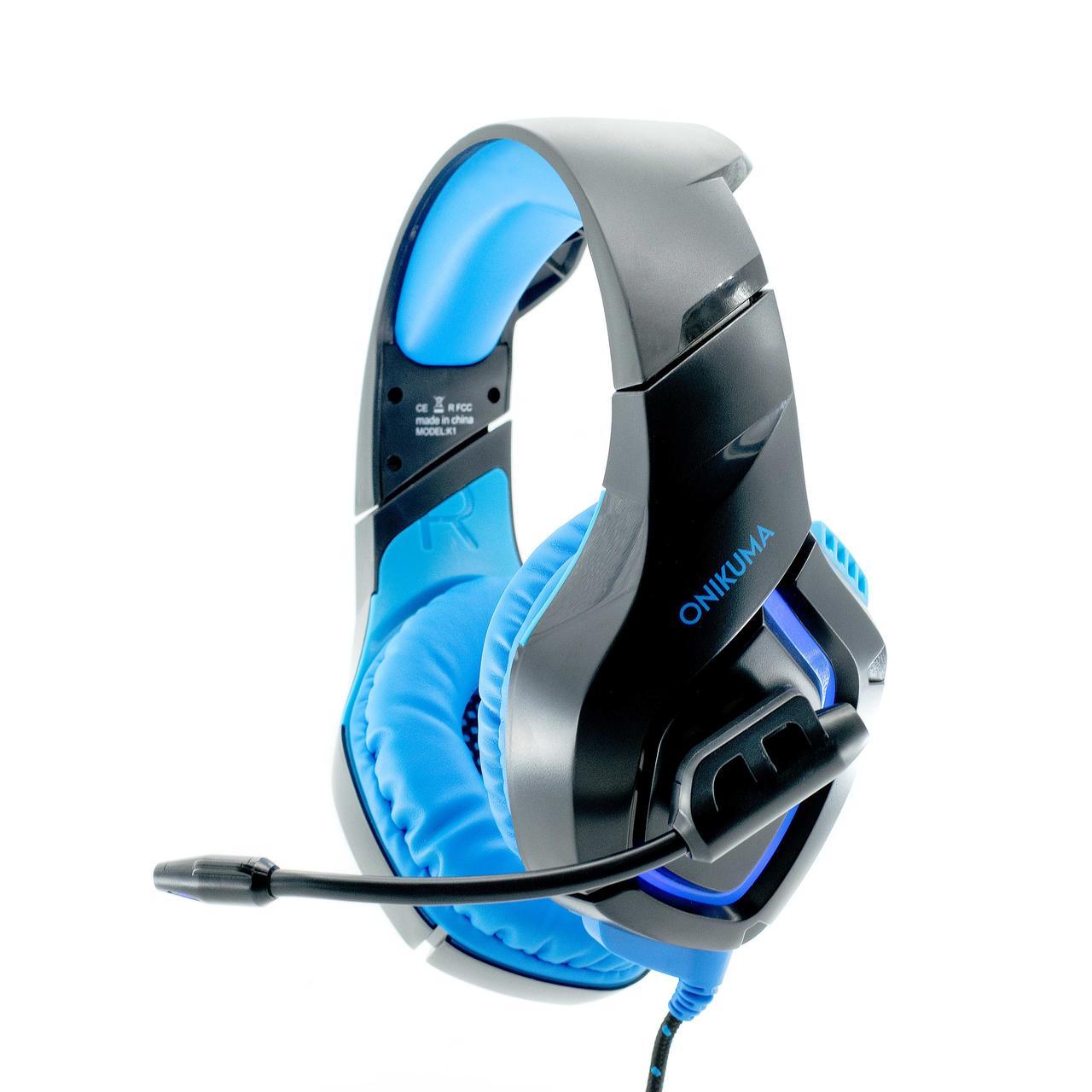 Игровые наушники Onikuma K1B синие с подсветкой